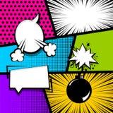 Pop art strip comic text speech bubble bomb Stock Photography