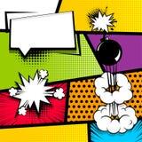 Pop art strip comic text speech bubble bomb Stock Image