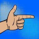 Pop art strong man hand show finger pointer Stock Photos