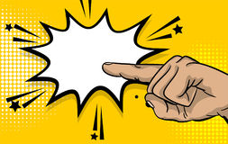 Pop art strong man hand show finger pointer Royalty Free Stock Photo