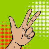 Pop art strong man hand show three finger. Pop art comic text cartoon strong man hand show number three finger. Human guy wow poster halftone dot background Royalty Free Stock Image