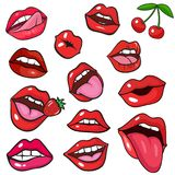 Pop art style background. With fashion lips patch badges. Lips, fruits and other elements. Comic book style stickers, pins, patches royalty free illustration