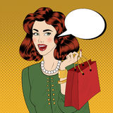 Pop art Style banner. Vintage Girl with Shopping Bags Royalty Free Stock Photography