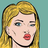 Pop Art Style Blonde Woman's Face Stock Photos