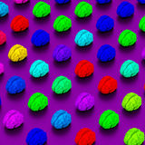 Pop art style brains love poly illustration pattern. Low-poly colorful brains illustration, 3d rendered objects Royalty Free Stock Photo