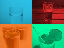 Popart drink collage. Pop art style collage of four monochrome drinks including a glass of water, a pint of beer, orange juice and alcoholic cocktail stock images