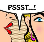 Pop Art style comic book panel gossip girl whispering in ear sec. Rets with speech bubble, rumor, word-of-mouth concept vector illustration Royalty Free Illustration