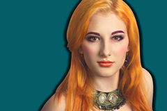 Pop art style comics girl with bright hair make up pretty face. Pop art style flat pattern image of woman with bright orange hair with frame around head, deep Royalty Free Stock Photo