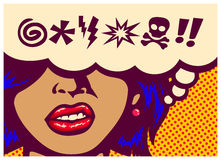 Pop art style comics panel angry woman grinding teeth with speech bubble and swear words symbols vector illustration Stock Photos