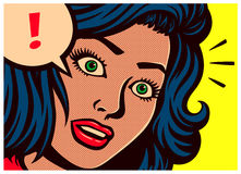 Pop art style comics panel with surprised woman and speech bubble with exclamation mark vector illustration Stock Images