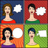 Pop Art Style Comics Women. Set of Pop Art Style Talking Comics Women royalty free illustration