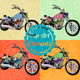 Pop art style elements. Set of vector motorbikes Stock Photo
