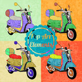 Pop art style elements. Set of vector scooters Royalty Free Stock Photography