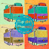 Pop art style elements. Set of vector trams Stock Image