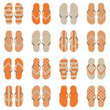 Pop Art style flip flops in a colorful checkerboard design. Stock Photo