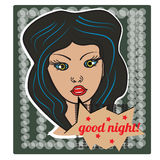 Pop art style girl on halftone background with happy good night bubble. Sticker figure, poster. Vector Royalty Free Stock Photo