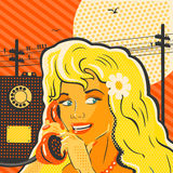 Pop Art Style Girl With Phone Stock Photography
