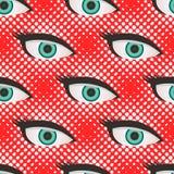 Pop art style halftone eyes pattern Stock Photos