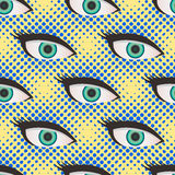 Pop art style halftone eyes pattern Royalty Free Stock Images