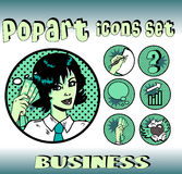 Pop art style icons set businesswoman. Business money top signs. pop art style icons set. woman in business Royalty Free Stock Image