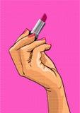 Pop art style illustration. Female hand holding Stock Images