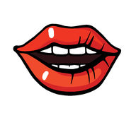 Pop art style lips sticker. Fashion pop art style lips patch badge. Vector sticker, pin, patche in cartoon 80s-90s comic style Stock Image