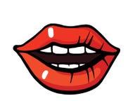 Pop art style lips sticker. Fashion pop art style lips patch badge. Vector sticker, pin, patche in cartoon 80s-90s comic style stock illustration
