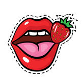 Pop art style lips sticker. Fashion pop art style lips patch badge. Vector sticker, pin, patche in cartoon 80s-90s comic style royalty free illustration