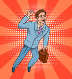 Pop art style man. Pop art style  illustration. Man superhero flying comic book style retro . Businessman with a portfolio in hand Royalty Free Stock Photos