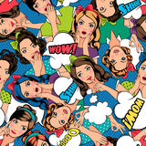 Pop art style pattern. With women faces and speech bubble. Vector illustration Stock Images