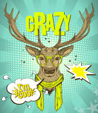 Pop-art style poster with hipster deer dressed in yellow glasses and scarf, telling I am cool. Stock Photo