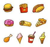 Pop art style set of fast food stickers. Pop art style set of fast food illustrations. Hamburger, donut, chicken legs, french fries, ice cream, hot dog, burritos stock illustration