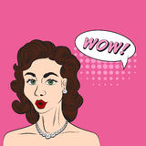Pop art style sketch of beatiful brunette woman saying WOW! with Royalty Free Stock Image