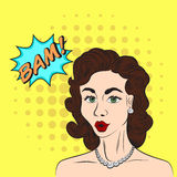 Pop art style sketch of beautiful brunette woman saying BAM! wit Stock Image