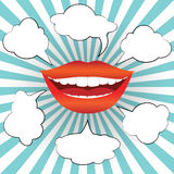 Pop art style smiling woman mouth with  speech bubbles Stock Photo