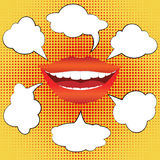 Pop art style smiling woman with speech bubbles Royalty Free Stock Photography