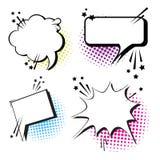 Pop Art Style Social Media Communication för uppsättning för pratstundbubblasymbol Royaltyfri Fotografi