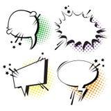 Pop Art Style Social Media Communication för uppsättning för pratstundbubblasymbol Fotografering för Bildbyråer