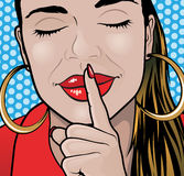Pop Art Style Sshhh Girl Plain. Royalty Free Stock Photos