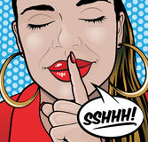 Pop Art Style Sshhh Girl. Pop Art Styled Illustration of a Girl putting her forefinger to her lips to indicate silence is required Stock Photography