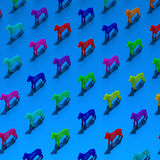 Pop art style standing dogs pattern. Colorful low-poly abstract dogs illustration pattern Royalty Free Stock Photos