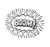 Pop art style sticker. Boom, word in speech bubble patch badge. Comic book style vector sticker, pin, patch in cartoon 80s-90s comic style Stock Photo