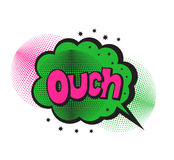 Pop art style sticker. Ouch, word in speech bubble patch badge. Comics book style  sticker, pin, patch in cartoon 80s-90s comic style Royalty Free Stock Images
