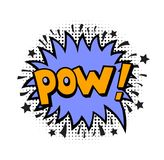 Pop art style sticker. Pow, word in speech bubble patch badge. Comic book style vector sticker, pin, patch in cartoon 80s-90s comic style Stock Photo