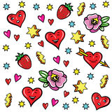 Pop art style stickers. Background with fashion patch badges. Strawberries, hearts, stars, and other elements. Vector stickers, pins, patches in cartoon 80s-90s Stock Photography