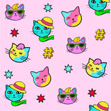 Pop art style stickers. Pop art style seamless background with fashion patch badges. Cats and stars. Comic book style  stickers, pins, patches Stock Image