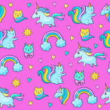 Pop art style stickers. Pop art style seamless background with fashion patch badges. Cats, unicorns, rainbow and other elements. Comic book style stickers, pins royalty free illustration