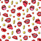 Pop art style stickers. Pop art style seamless background with fashion patch badges. Lips, hearts, and other elements. Comic book style  stickers, pins, patches Royalty Free Stock Photo