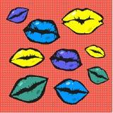 Pop art style vector lips Royalty Free Stock Photo