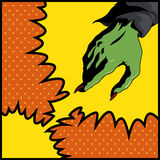 Pop Art Style Witch Hand, vektorillustration Arkivfoto